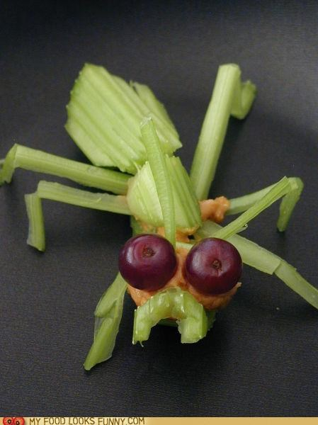 ant,bug,celery,grapes,peanut butter,sculpture,snack