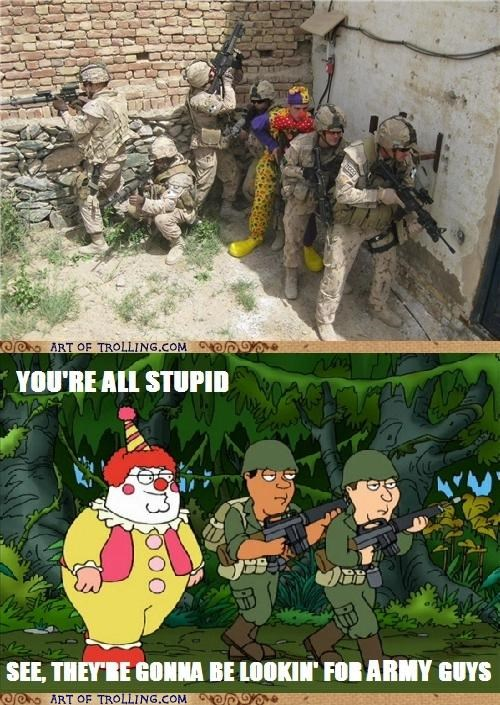clown,family guy,IRL,Peter Griffin,soldier