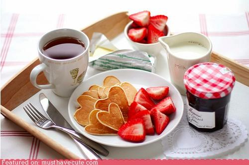 breakfast,cream,epicute,hearts,jam,pancakes,strawberries,tea