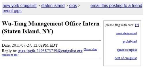 Craigslist Ad internship Wu-Tang Clan - 5020343808