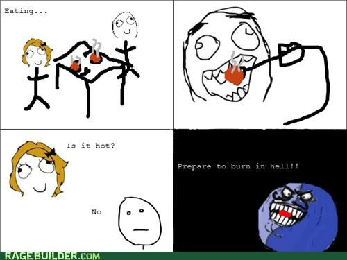 burning,food,hot,i lied,poker face,Rage Comics