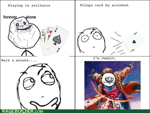 awesome,cards,fling,forever alone,gambit,me gusta,Rage Comics,solitare