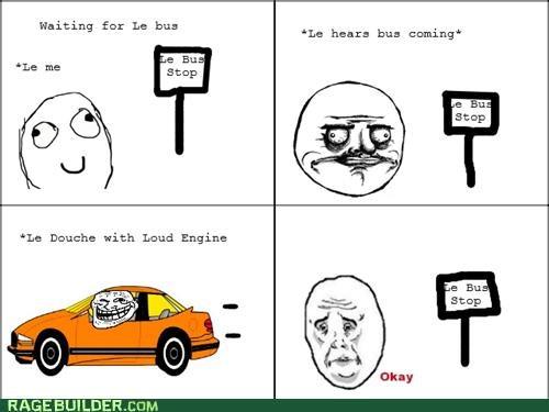 bus bus stop car engine loud public transit Rage Comics - 5020935680