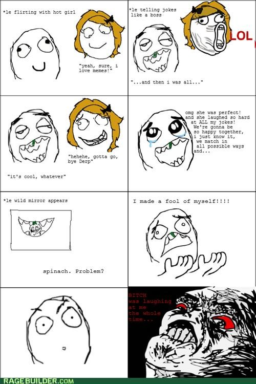 embarassing,Rage Comics,raisin face,spinach,teeth
