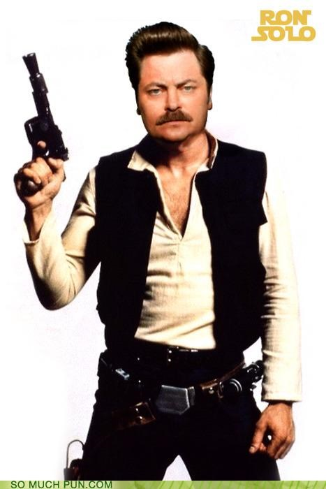 Han Solo juxtaposition literalism Nick Offerman parks and recreation rhyming ron swanson star wars - 5021253888