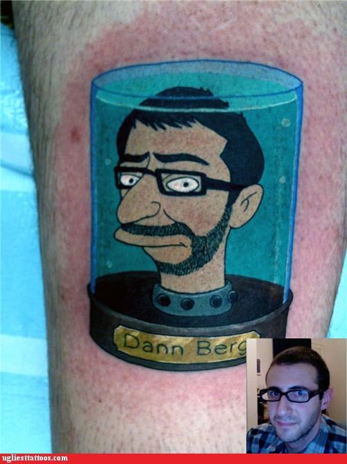 futurama,head in a jar,profile tattoo,tattoo yourself