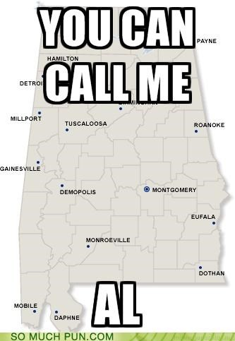 abbreviation al Alabama call double meaning literalism map name state - 5023638784