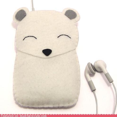 cover felt iphone ipod polar bear - 5023758848