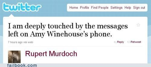 any winehouse,news,phone hacking,Rupert Murdoch,twitter