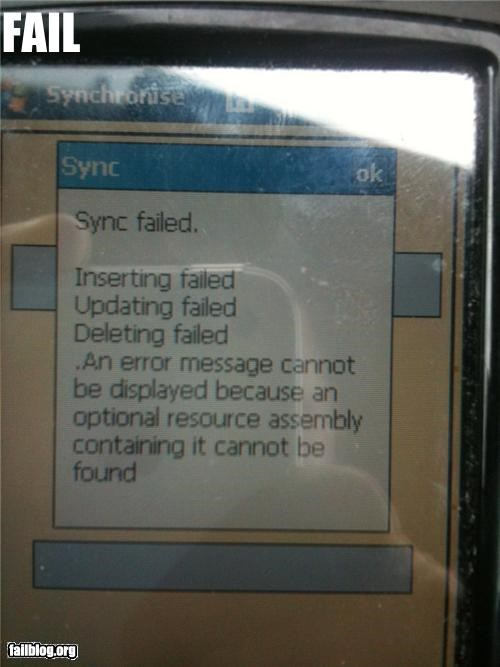 Error Message cannot be displayed Error Message Error Message cannot be displayed Error Message on a Hewlett Packard Ipaq