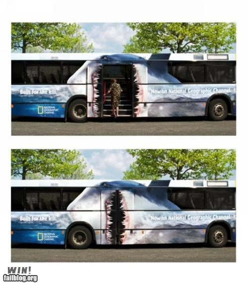 advertisement art bus Inception shark week sharks