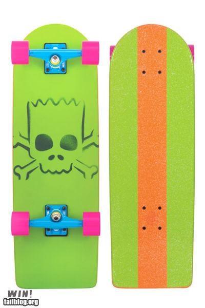 cowabunga,nerd IRL,simpsons,skateboard