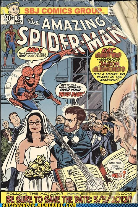 Awesome Art bride clever comic groom Spider-Man Wedding Invitation - 5024618496
