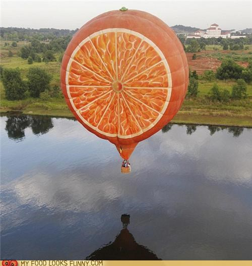 fruit,Hot Air Balloon,lake,orange,slice