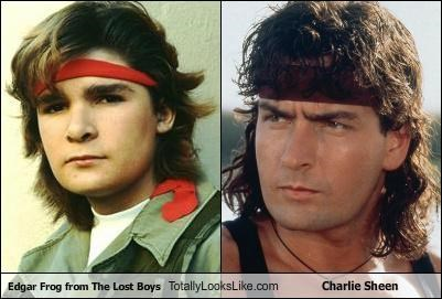 actors,bandanas,Charlie Sheen,corey feldman,feathered hair,winning