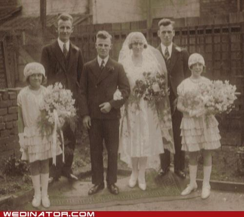1920s,bride,bridesmaids,flower girl,funny wedding photos,groom,Historical,retro