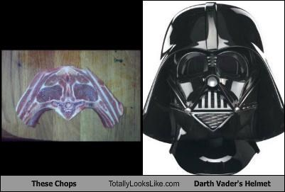chops,darth vader,food,helmet,movies,star wars,steak,villains
