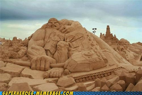 Awesome Art,hulk,sand,sculpture