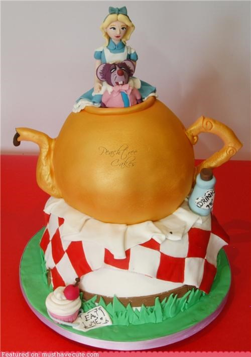alice in wonderland,cake,cupcake,dormouse,epicute,fondant,teapot