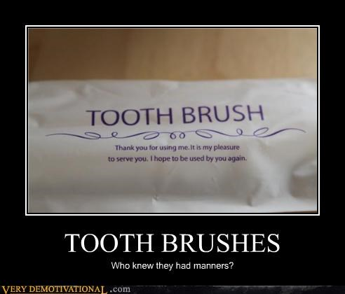 hilarious,manners,tooth brush,wrapper,wtf