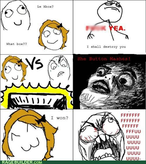 button mashes,fu guy,girls,Rage Comics,winning,xbox