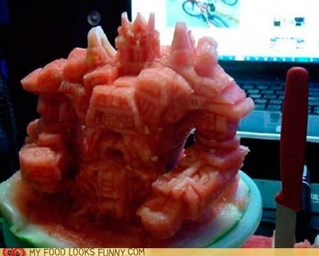 carving,optimus prime,transformers,watermelon
