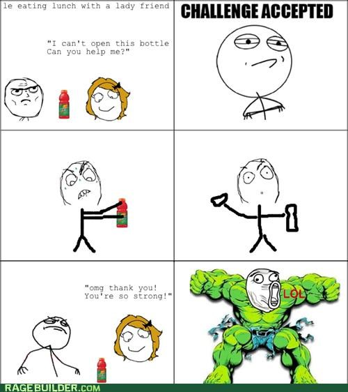 bottle,Challenge Accepted,gatorade,open,Rage Comics,the hulk