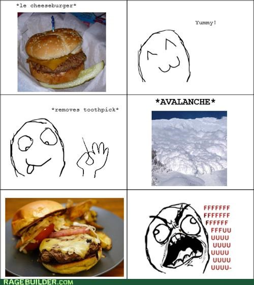 avalanche,cheeseburger,fu guy,Rage Comics,toothpick
