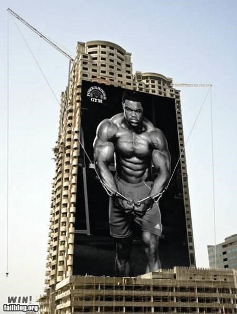 advertising,building,creative ad,gym,huge