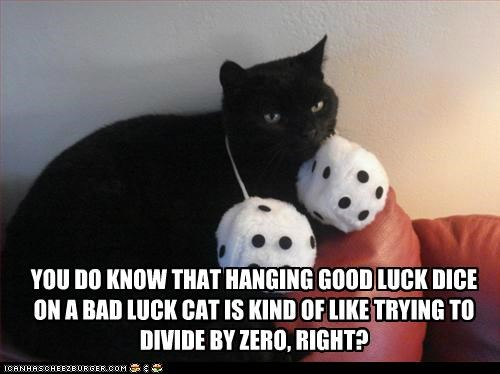 bad,bad luck,caption,captioned,cat,dice,dividing,good,good luck,hanging,impossible,luck,problem,zero