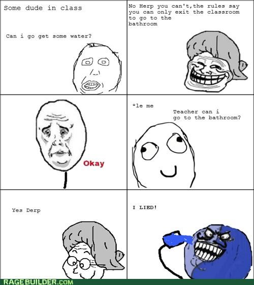 bathroom,i lied,Rage Comics,teacher,water