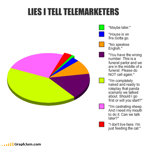 lies phone Pie Chart telemarketers - 5029046784
