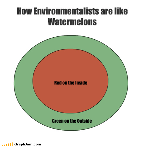 How Environmentalists are like Watermelons Red on the Inside Green on the Outside