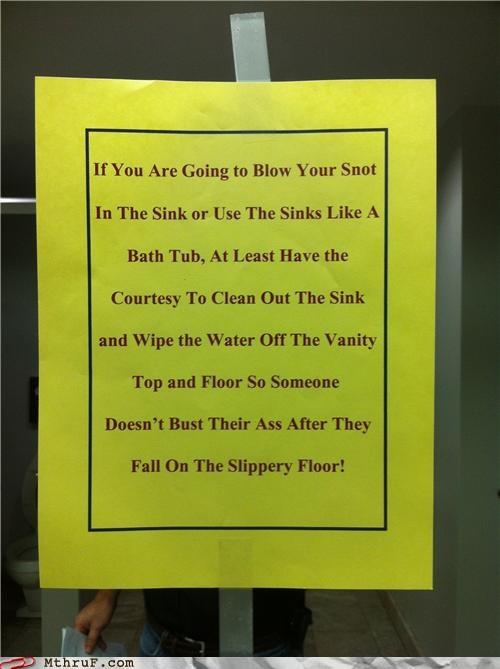 bathroom sign slippery snot - 5030722304