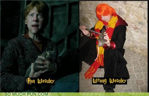 cosplay double meaning Harry Potter homophone impostor literalism ron Ron Weasley wrong