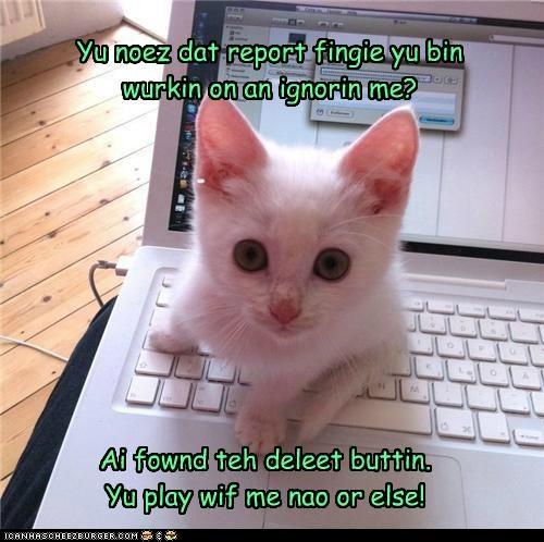 Ai fownd teh deleet buttin. Yu play wif me nao or else! Yu noez dat report fingie yu bin wurkin on an ignorin me?