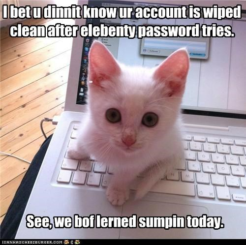 I bet u dinnit know ur account is wiped clean after elebenty password tries. See, we bof lerned sumpin today.