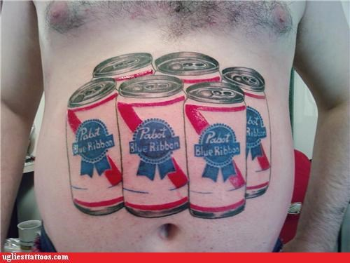 belly tats,brand loyalty,drinking,pbr,words