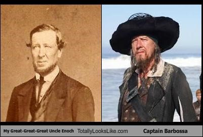 beards Captain Barbossa Enoch facial hair Geoffrey Rush great great great uncle Hall of Fame hats History Day mustaches Pirates of the Caribbean - 5034726656