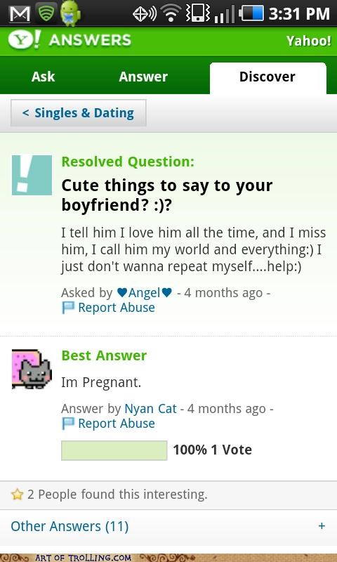 boyfriend cute things Nyan Cat pregnancy Yahoo Answer Fails - 5035005440