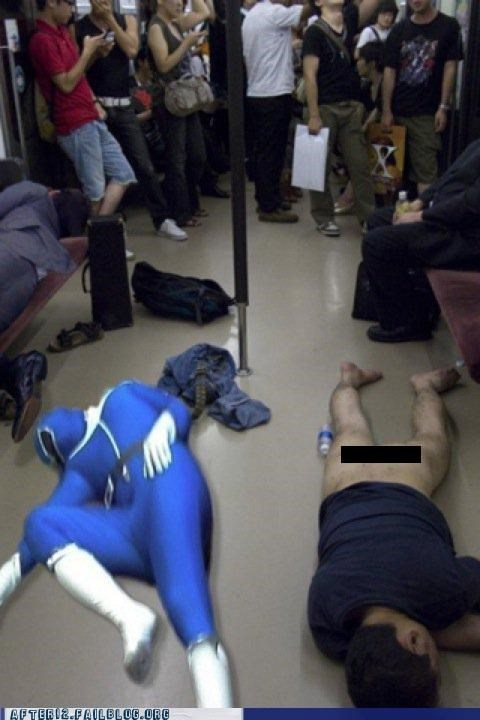 butt Hall of Fame passed out power rangers public transportation train - 5035246336