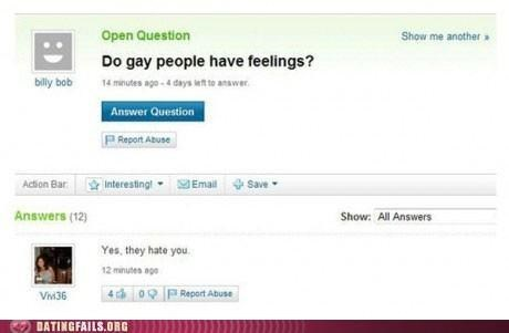 feelings,gay,hatred,homophobia,We Are Dating,yahoo answers