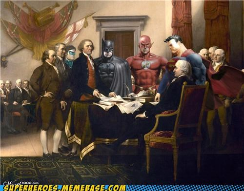 Awesome Art,batman,declaration of independence,flash,Green lantern,superman