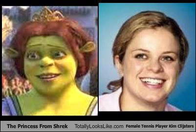 athlete,cartoons,cartoon characters,kim clijsters,ogre,princess fiona,shrek,tennis,tennis player