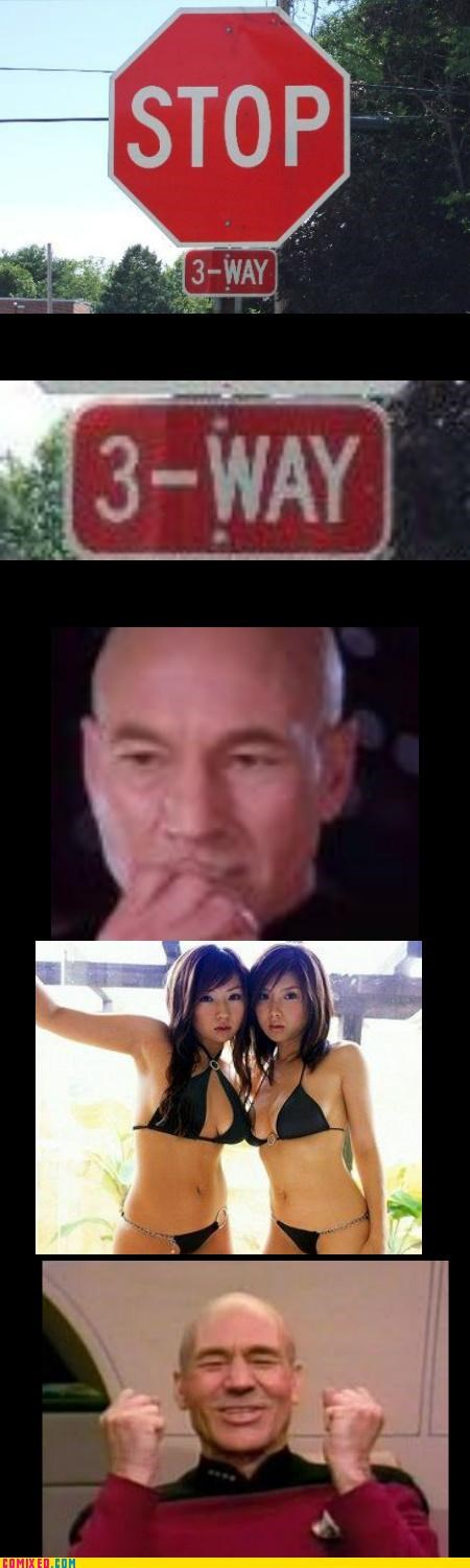 3 way,jean-luc picard,sexy times,Star Trek