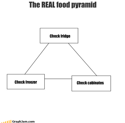 The REAL food pyramid Check fridge Check freezer Check cabinates