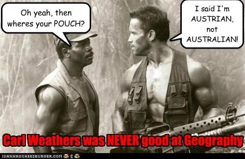 actor,Arnold Schwarzenegger,Carl Weathers,celeb,funny,Movie,Predator