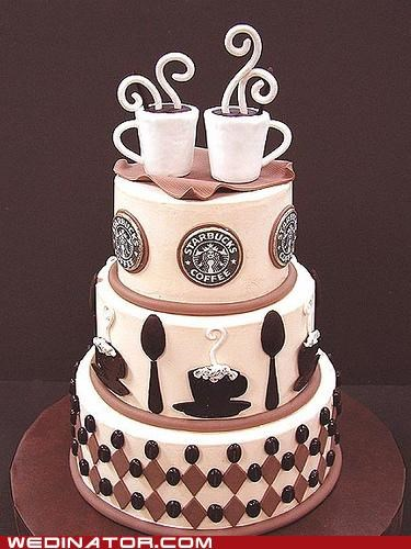 funny wedding photos Starbucks wedding cake