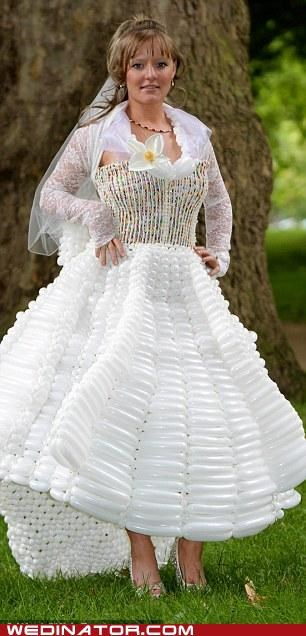 balloon dress,craft,funny wedding photos,royal wedding