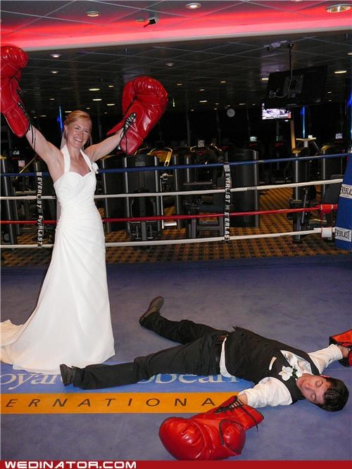 boxing,bride,funny wedding photos,groom